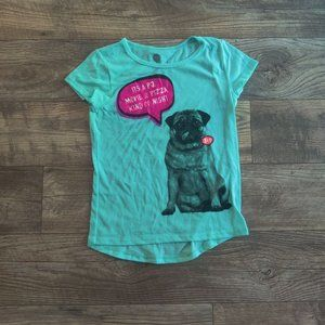 Total Girl teal short sleeve with dog phrase